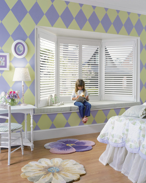 Girls Bedroom Shutters In A Bay Window Traditional bedroom