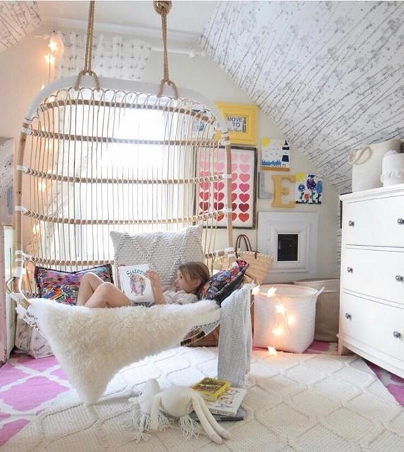 Girls Pink and Yellow Eclectic Bedroom - Eklektisch ...