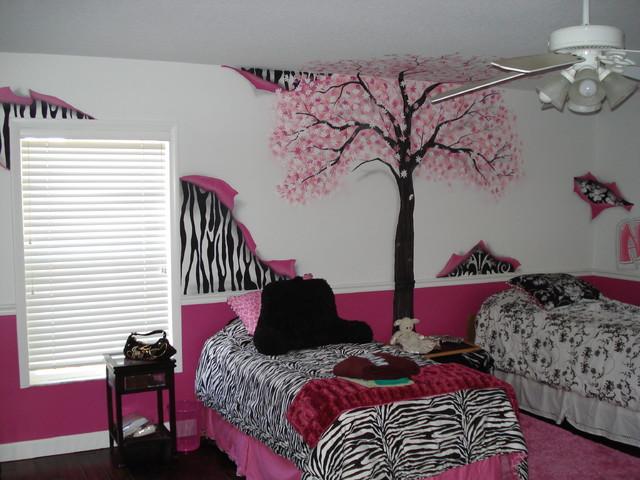 Girls Pink Tree Bedroom eclectic-bedroom