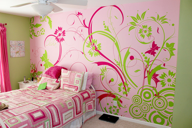 Girly Bedroom Contemporary Bedroom Atlanta By Totally Custom Wallpaper