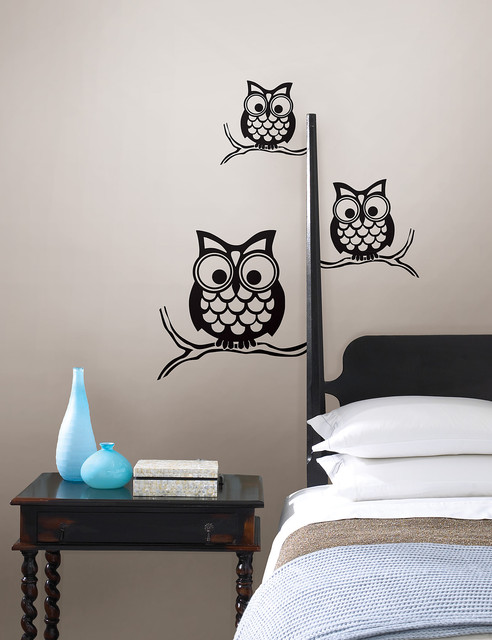 Give A Hoot Wall Owl Wall Art By WallPops Contemporary Bedroom By WallPops