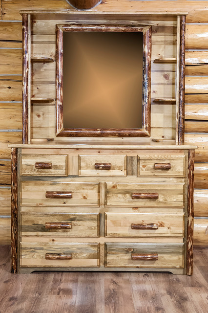 Montana Woodworks Furniture amp Accessories Glacier Country Collection 9  Drawer Dresser w Deluxe Dresser Mirror rustic. Montana Bedroom Furniture Collection