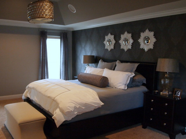 Glam gray sparkle master bedroom for Interior design bedroom grey