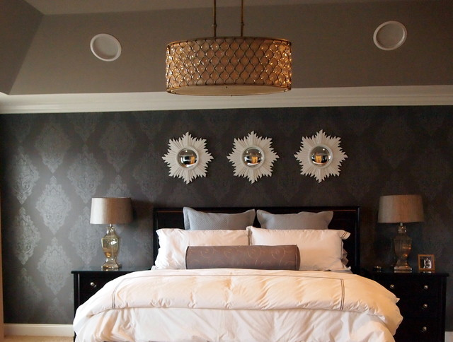 Glam Gray Sparkle Master Bedroom