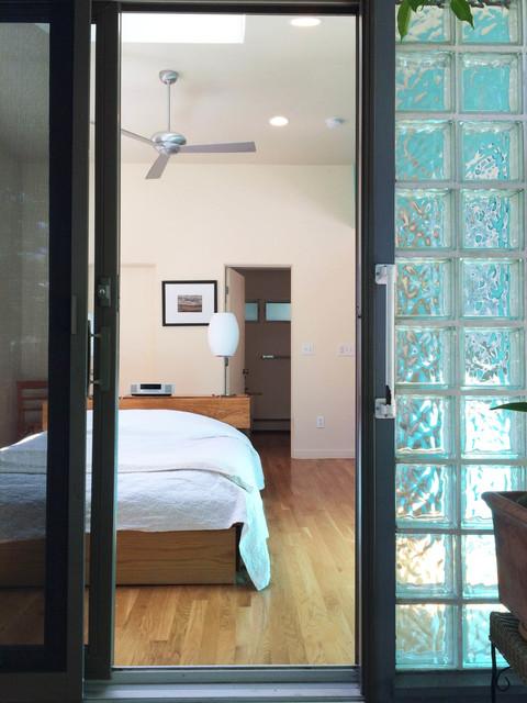 Glass Block At Sliding Door Midcentury Bedroom New York By