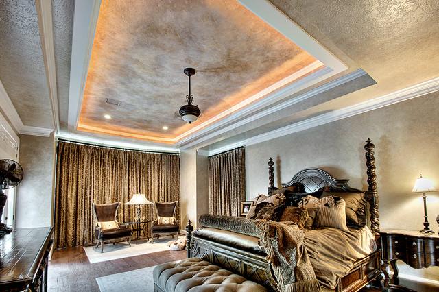 Glazed Bedroom Amp Multi Layered Ceiling Mediterranean