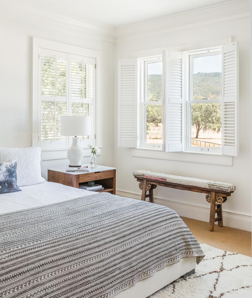 Bedroom - large farmhouse master bedroom idea in San Francisco
