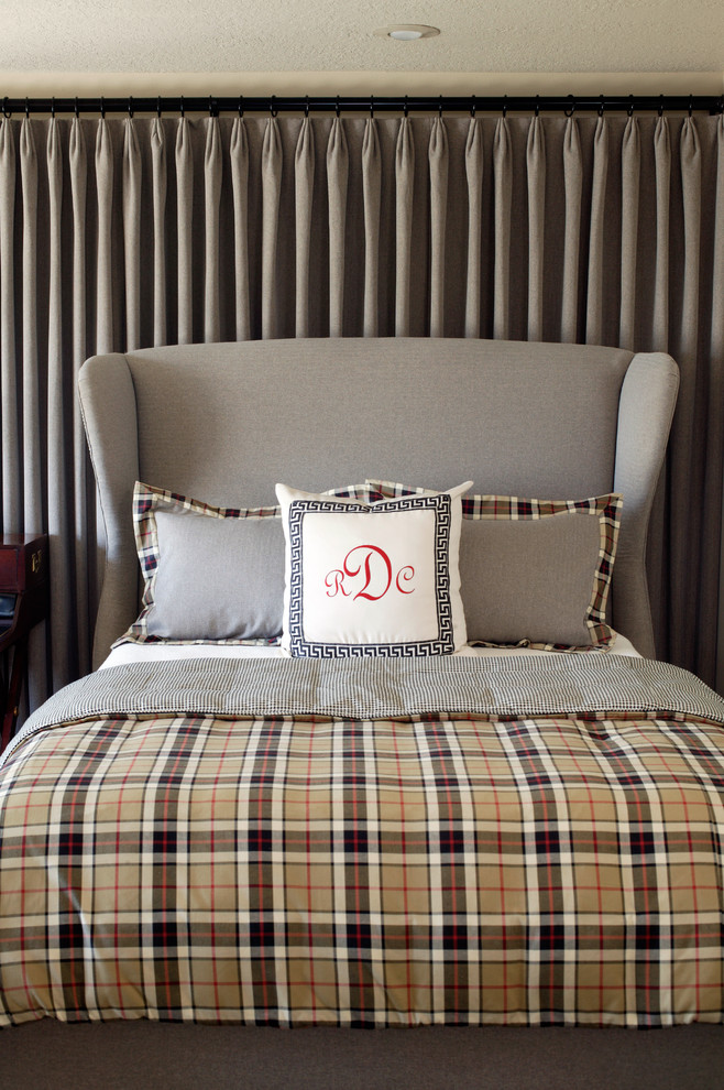 Mid-sized trendy carpeted bedroom photo in Little Rock with beige walls