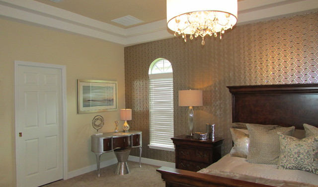 Gold And Silver Master Bedroom Transitional Bedroom