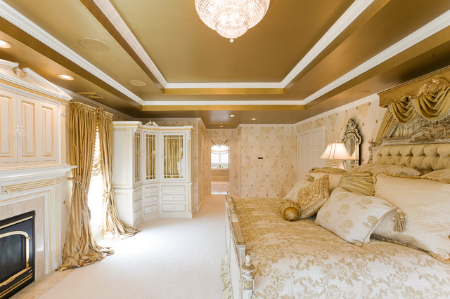 Gold Bedroom With Custom Window Treatments And Bedding