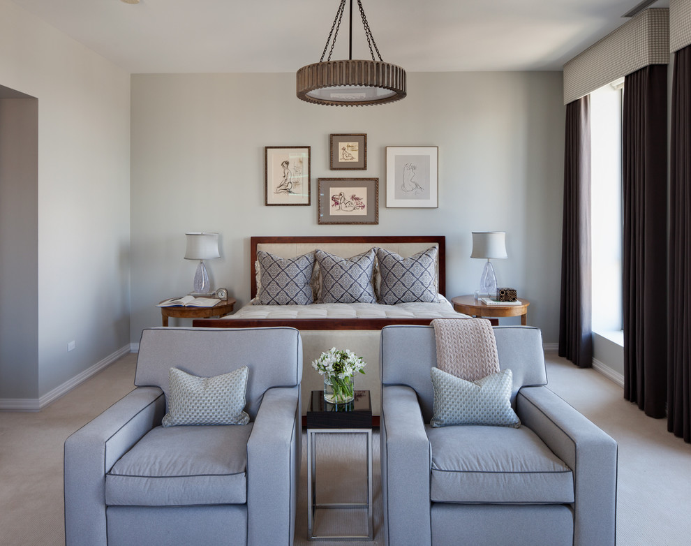 Example of a classic bedroom design in Chicago with gray walls
