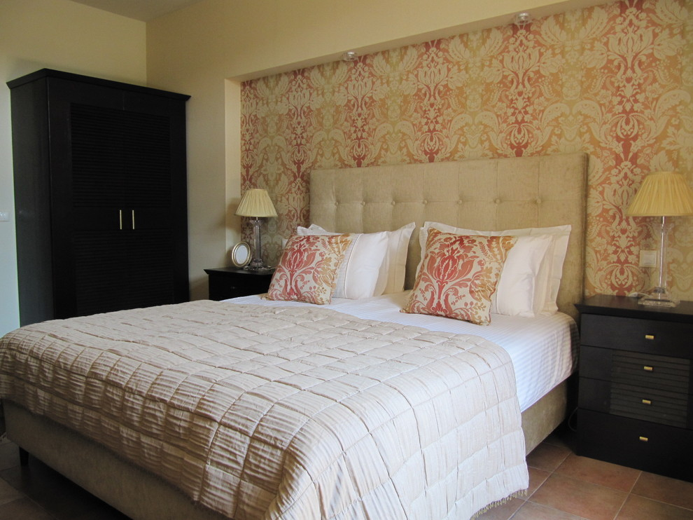 Example of a trendy bedroom design in Other with beige walls