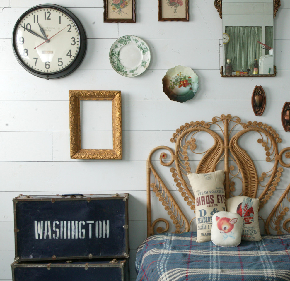 Bedroom - shabby-chic style bedroom idea in Omaha with white walls