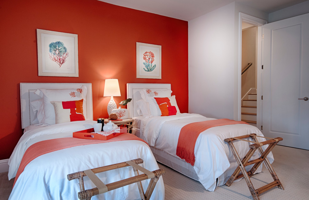 Bedroom - coastal guest carpeted bedroom idea in Miami with orange walls and no fireplace
