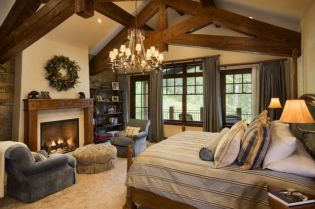 Granite ridge timber frame jackson hole wy traditional bedroom denver by teton Traditional rustic master bedroom