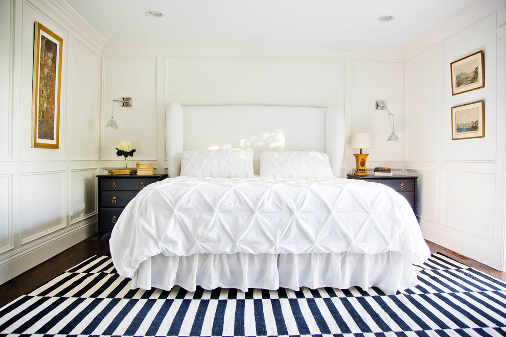 Inspiration for a transitional master bedroom remodel in Salt Lake City with white walls