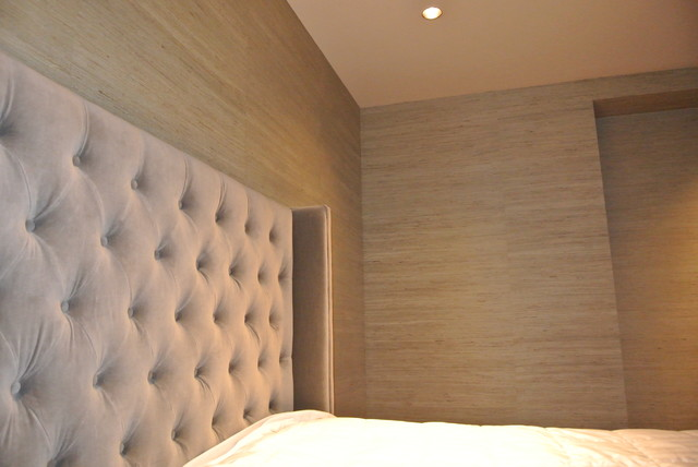 Grass Cloth Install In Perfection Contemporary Bedroom