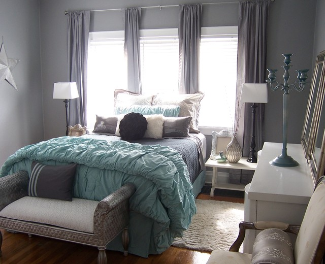 Gray and aqua glitzy master bedroom contemporary for Aquamarine bedroom ideas
