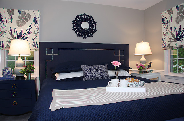Medium Sized Traditional Master Bedroom In Dc Metro With Grey Walls Carpet And No Fireplace