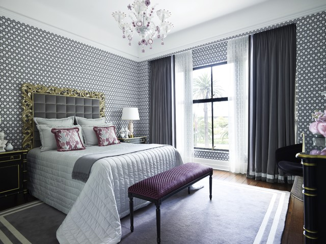 gray and purple bedroom contemporary-bedroom