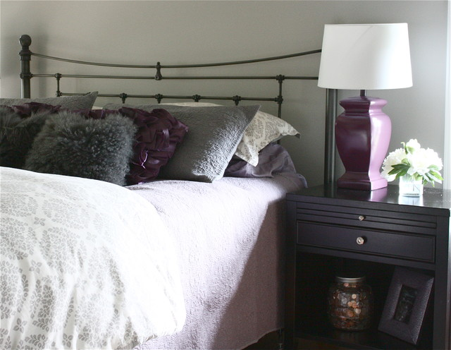 gray and purple bedroom traditional bedroom detroit by the yellow cape cod. Black Bedroom Furniture Sets. Home Design Ideas