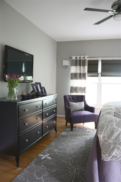 Elegant Gray And Purple Bedroom Contemporary Bedroom