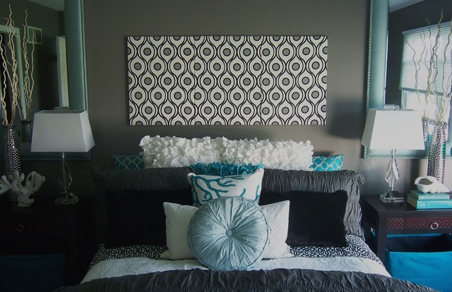 Gray and Turquoise Bedroom - Contemporary - Bedroom - Grand Rapids ...
