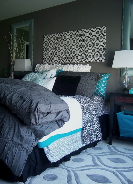 Gray And Turquoise Bedroom Contemporary