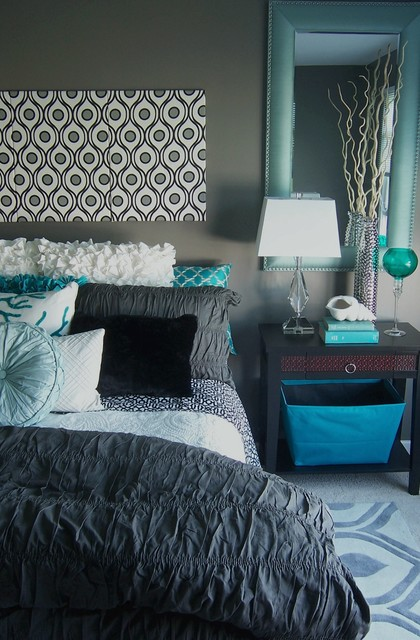 Gray and turquoise bedroom contemporary bedroom for Black white turquoise bedroom ideas