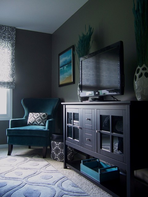 Gray And Turquoise Bedroom