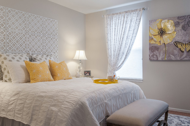 Gray and Yellow Bedroom Contemporary Bedroom st