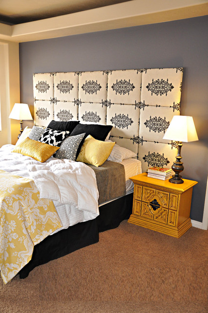 Gray and yellow master bedroom for Bedroom ideas yellow and grey