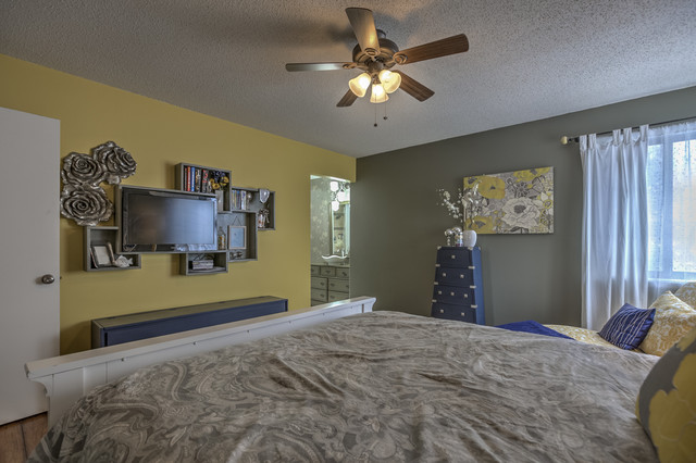 gray and yellow master bedroom transitional bedroom kansas city