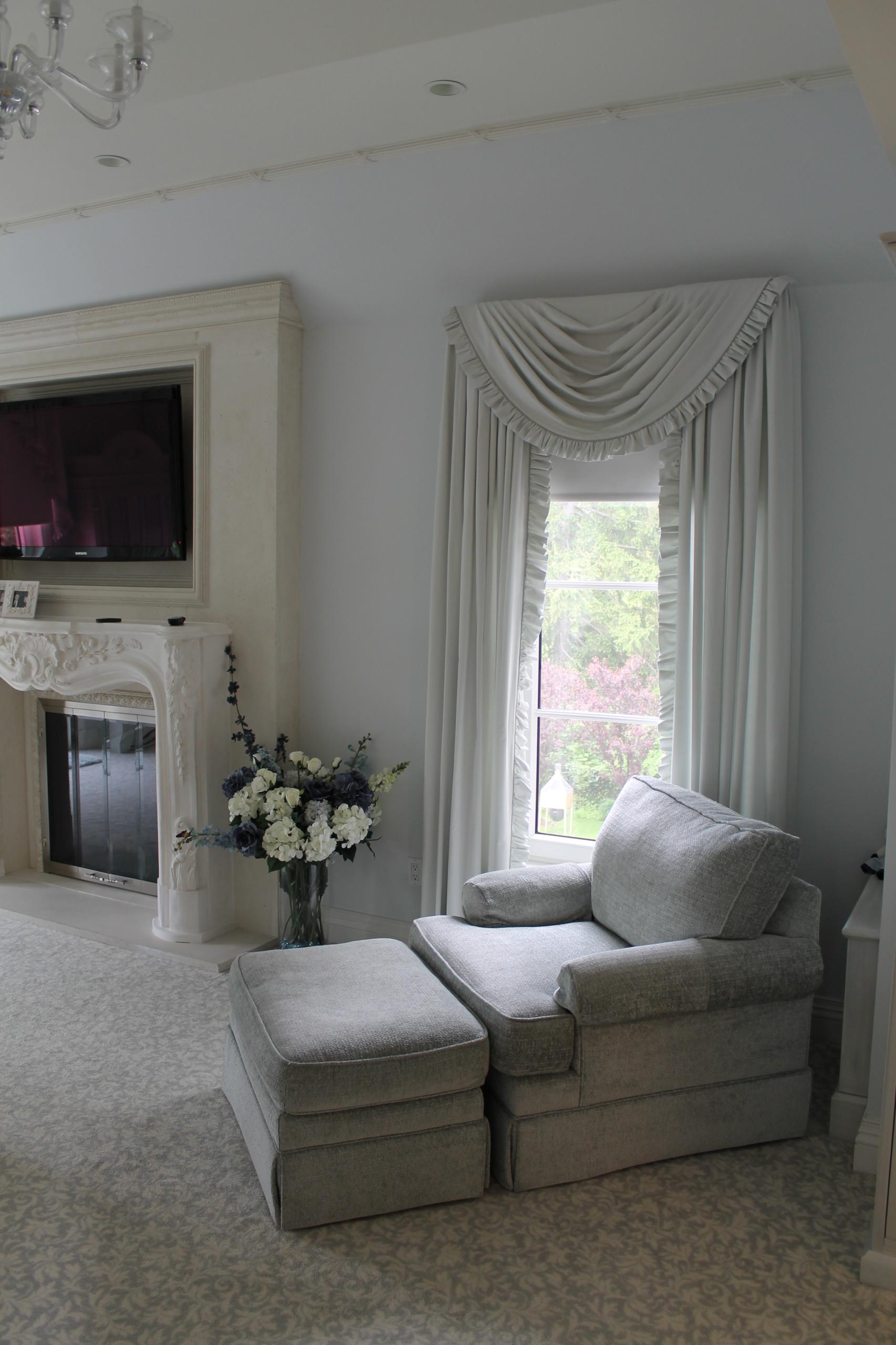 Gray Master Bed Lawrence, NY Home