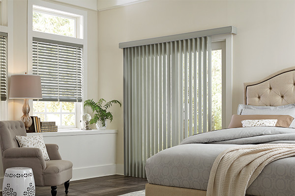 Gray vertical vinyl blinds graber bedroom ideas modern for Shades for bedroom windows