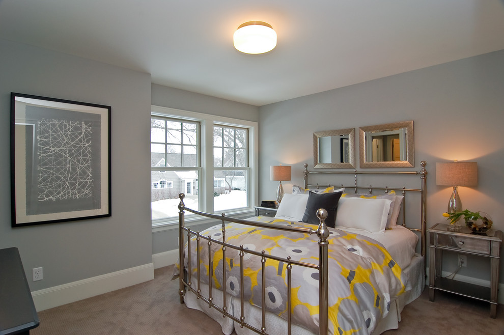 Transitional bedroom photo in Minneapolis with gray walls