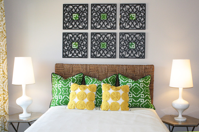 Green and Yellow Guest Room contemporary bedroom