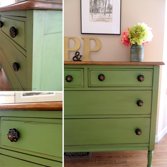 Perfect Green Farmhouse Dresser Traditional Bedroom