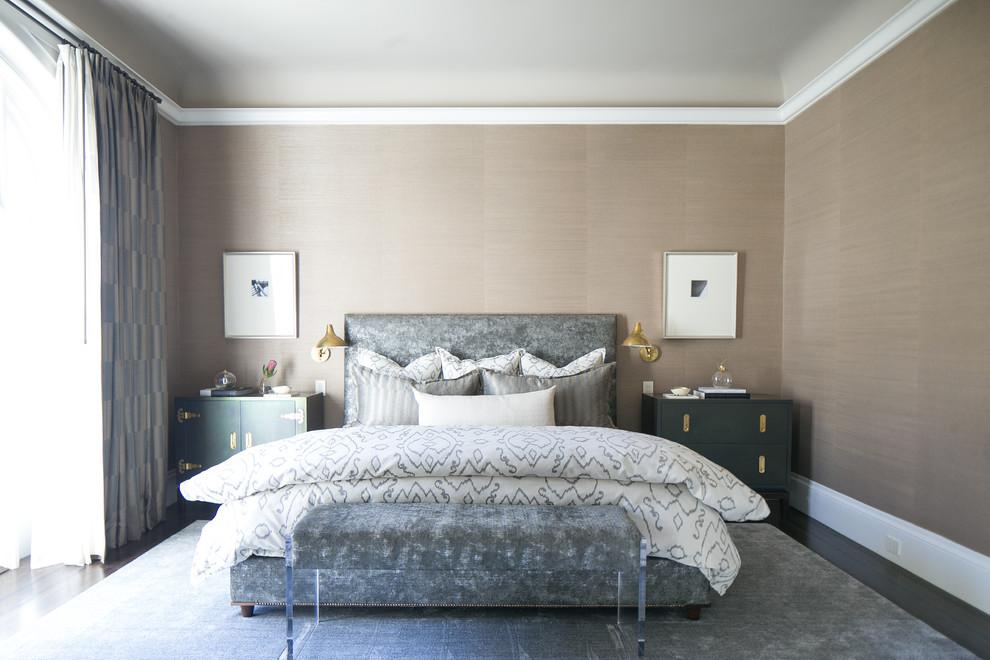 Bedroom - transitional master dark wood floor bedroom idea in San Francisco with beige walls