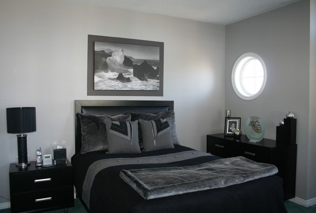 Grey black bedroom contemporary bedroom ottawa for Black grey interior design