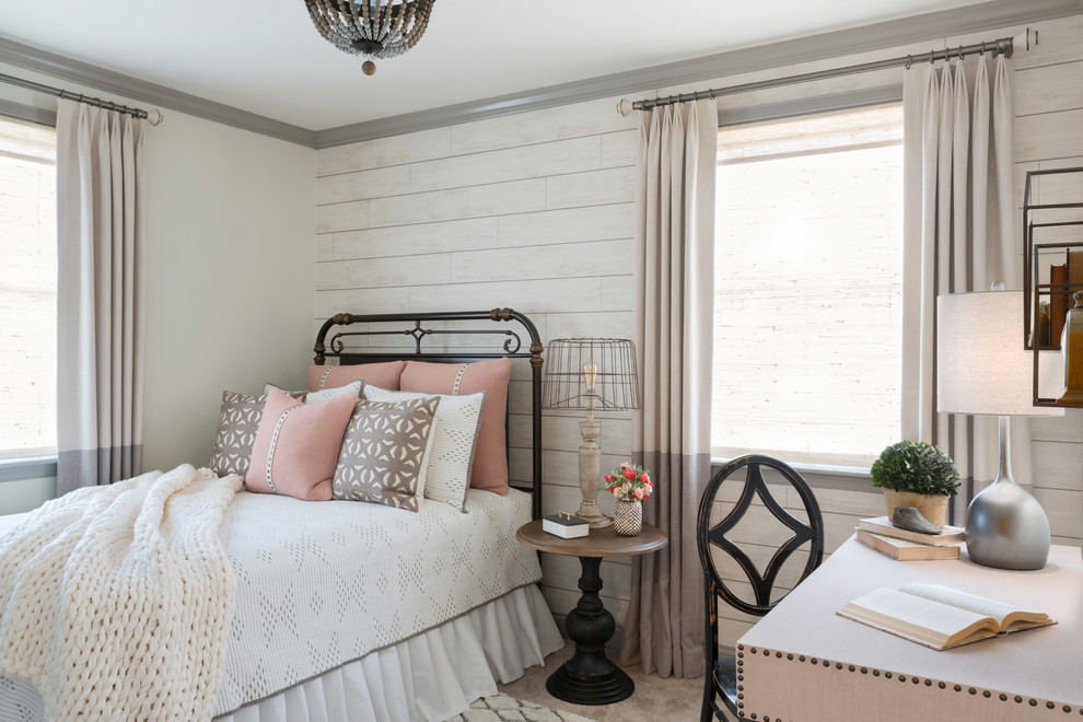 Example of a mid-sized farmhouse guest carpeted and gray floor bedroom design in Philadelphia with white walls