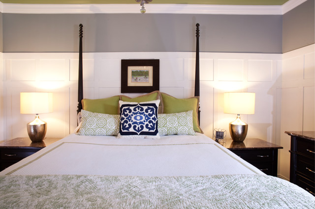 guest bedroom done in light trendy colors traditional bedroom