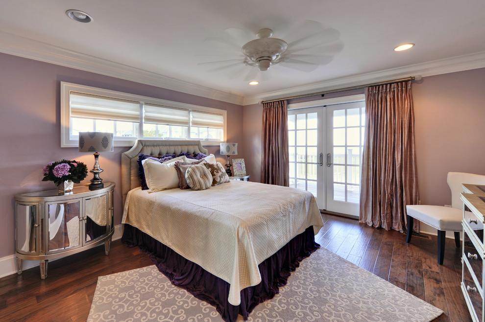 Trendy bedroom photo in Philadelphia with pink walls