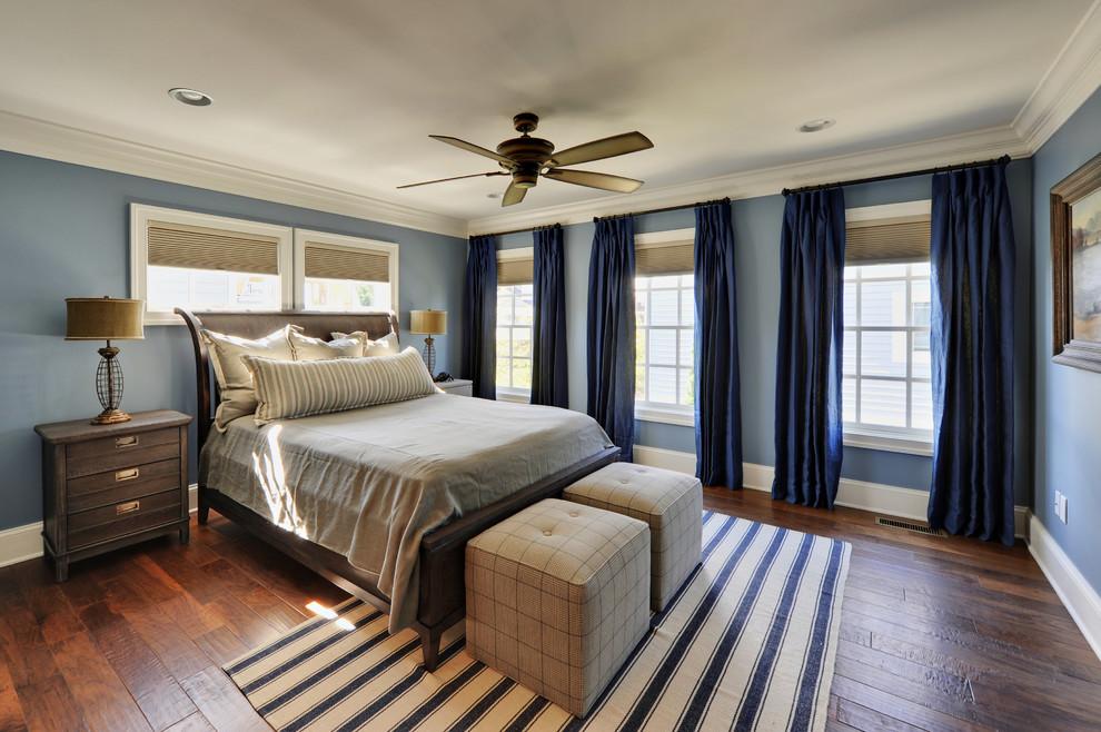 Elegant bedroom photo in Philadelphia with blue walls