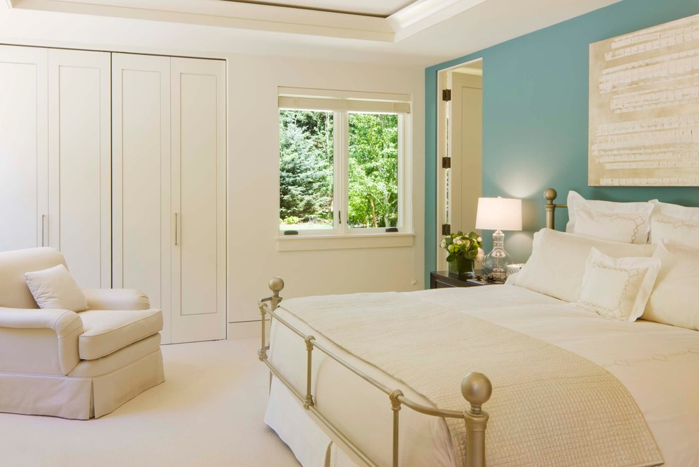 Example of a transitional guest bedroom design in Denver with blue walls