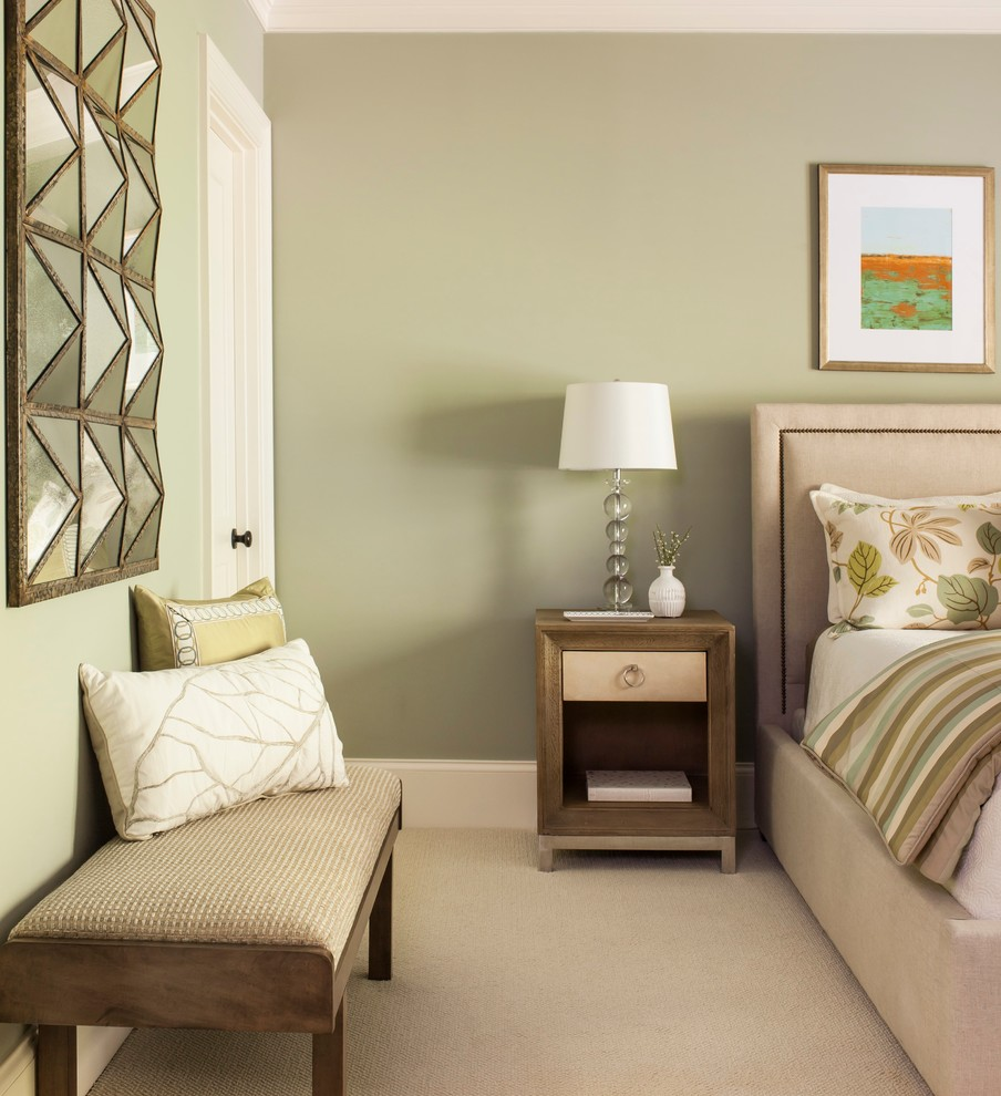 Bedroom - large transitional guest carpeted bedroom idea in Atlanta with blue walls