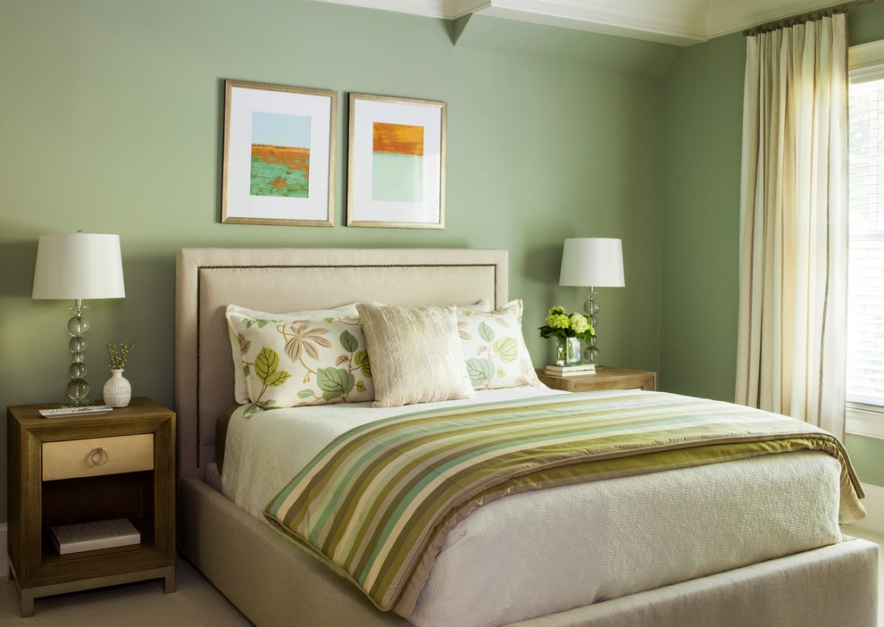Large transitional guest carpeted bedroom photo in Atlanta with blue walls