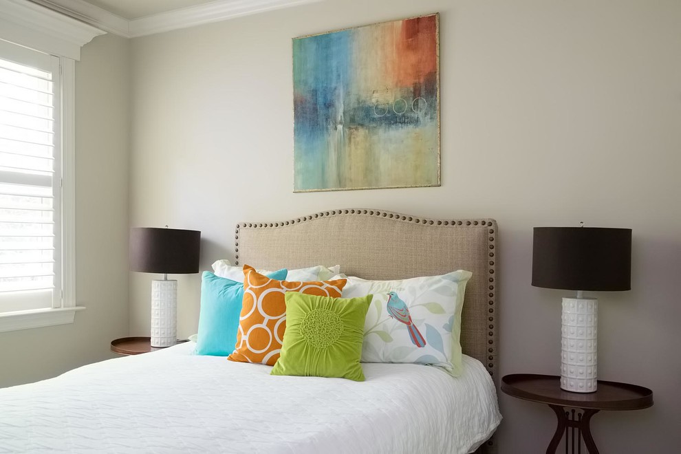 Inspiration for a transitional bedroom remodel in Dallas with beige walls