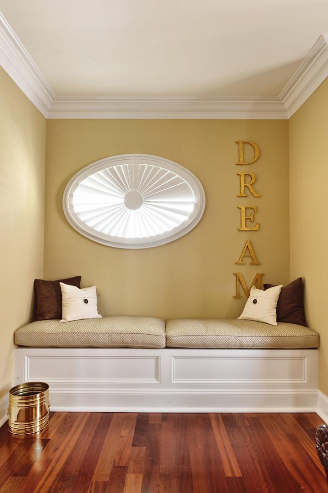 Bedroom - contemporary dark wood floor bedroom idea in Philadelphia with beige walls