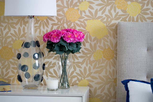 Guest Bedroom With Yellow Gold Metallic Wallpaper And Blue Accents Contemporary Bedroom Miami By Nearly Natural Inc Houzz